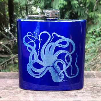 Octopus Flask, metal flask, engraved flask, gift for him, fathers day, groomsmen gift, stainless steel flask, gift for her, fun gift