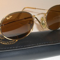 VINTAGE BAUSCH & LOMB RAY BAN W0967 GOLD PLATED B15 OVAL AVIATOR SUNGLASSES MINT