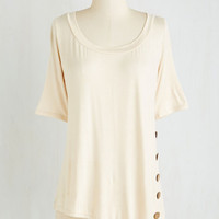 Mid-length Short Sleeves Quaint a Picture Top in Ivory by ModCloth