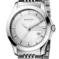 Men's Gucci 'G Timeless' Stainless Steel Bracelet Watch, 38mm - Silver