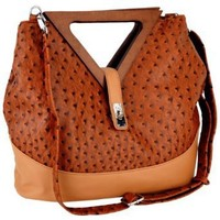 Exotic Brown / Tan Ostrich Turnlock Wood Triangle Handles Shopper Tote Handbag