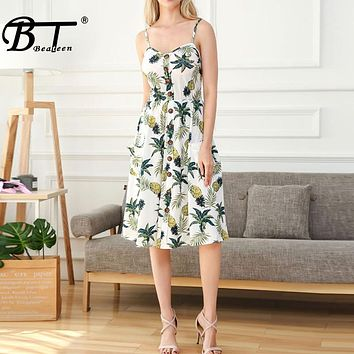 Beateen Vintage women floral print dresses backless A line casual midi woman summer Beach tropical plants dresses 2018 New