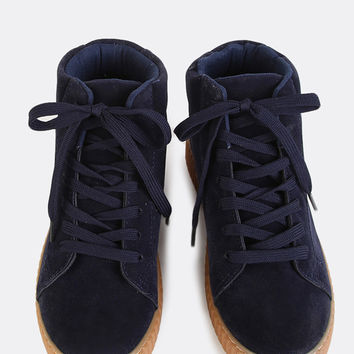 Hi-Top Faux Suede Gum Sole Sneakers NAVY | MakeMeChic.COM