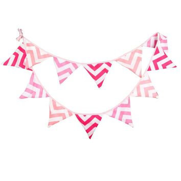Fabric Bunting Banner Girls Nursery Pink Checron Flags Bunting, Photography Prop Cotton Fabric Banners Girls Baby Shower Garland
