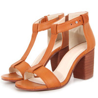 Brown Chunky High Heel T Sandals -SheIn(Sheinside)