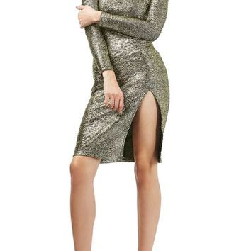 Topshop Foil Spot Midi Dress (Regular & Petite) | Nordstrom