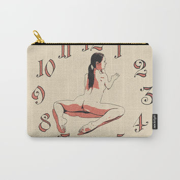 Fitness Time - yoga girl erotic artwork, slim woman nude on floor, clock and naked sporty body art Carry-All Pouch by Casemiro Arts - Peter Reiss