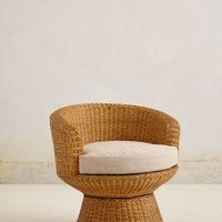 Wicker Pedestal Chair by Anthropologie White One Size Furniture