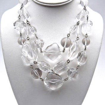 Clear Lucite Necklace BEN AMUN, 3 Strand, Chunky Runway and Signed Vintage