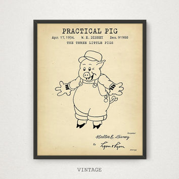 Practical Pig, The Three Little Pigs, Cartoon Character - 1/3, Disney Fairy Tale, Funny Animal, Kids Room Wall Art, Children Gifts, Pig Art