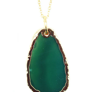 Green Agate Slice Layering Necklace