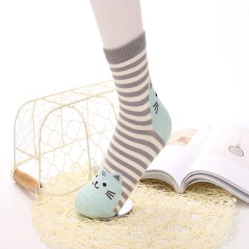 Animals Style Cartoon Cat Footprints Stripes Socks Funny Crazy Cool Novelty Cute Fun Funky Colorful