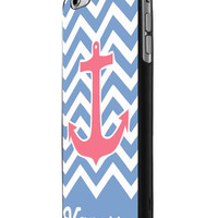 Anchor Blue Chevron Personalized Name iPhone 6 Case