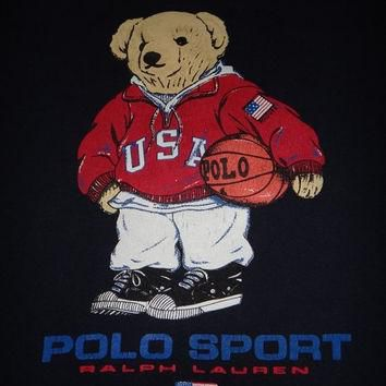 New Year Sale Vintage POLO SPORT Ralph Lauren Bear 1990s Basketball Hip Hop No Stadium