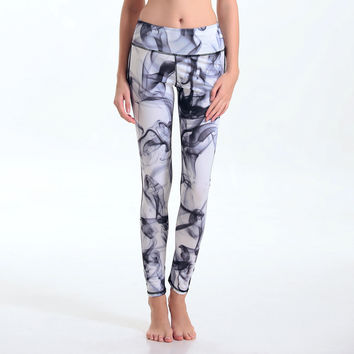Black Print Permeable Quick Dry Yoga Leggings [6572619719]