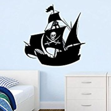Wall Decal Vinyl Sticker Decals Art Decor Design Pirates Ship Skull Guns Sail Boat Kids Anchor Children Funny Nursery Beedroom Gift (r683)