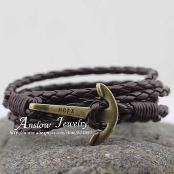LOW0144LB Fashion Jewelry Men's Bracelet PU Leather 60cm Friendship Unisex Punk Rock Anchor Bracelets Mother Gift Free Shipping