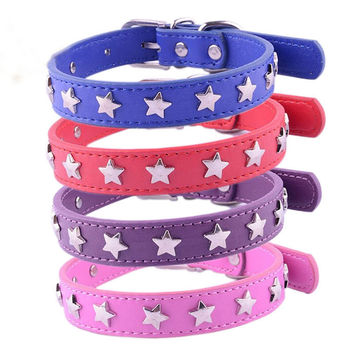 Newest PU Leather Small Dog Collar With Stars Pet Products Puppy Dog Cat Necklace Chihuahua Buckle Neck 8 Color 4 Size XS S M L