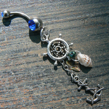 nautical belly ring anchor ships wheel abalone seashells in beach boho gypsy hippie belly dancer  beach hipster and fantasy style