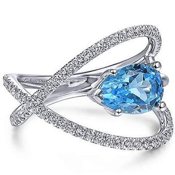 Gabriel Pear Cut Blue Topaz Multi-Layer Diamond Ring