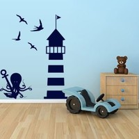 Wall Decal Vinyl Sticker Decals Art Decor Design Octopus Anchor Lighthouse Seagull Marine Ship Ocean Sea M1512