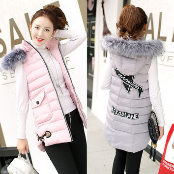 Women Winter Fashion Padded Down Vest with Fur Hat [9378739652]