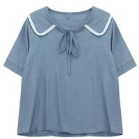 Peter Pan Collar Tie-Neck Blouse
