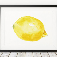 Lemon print Kitchen art Nursery poster Fruit print ACW266