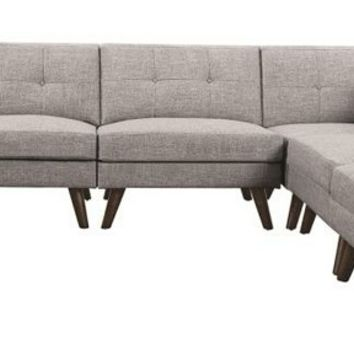 6 pc Churchill collection grey linen like fabric mid century modern modular sectional sofa with tapered legs