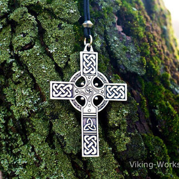 Huge Celtic Cross Pendant Viking Amulet Sterling Silver Necklace Scandinavian Pendant Norse Jewelry (Stylization)