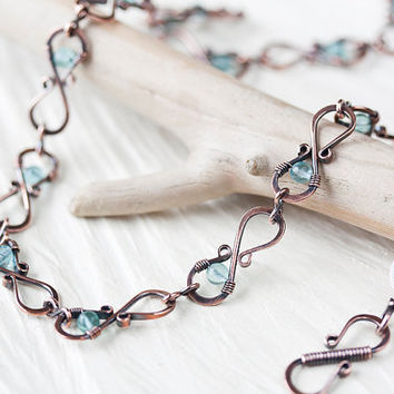 Beaded Copper Necklace, wire wrapped hammered infinity links pastel teal blue apatite beads, handcrafted antique solid copper chain necklace