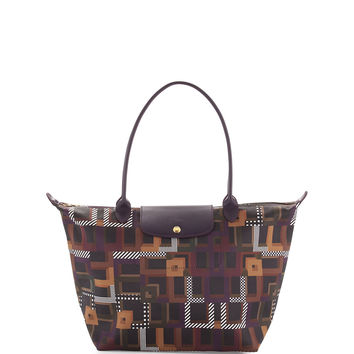 Le Pliage Art Walk Large Shoulder Tote Bag, Black Currant - Longchamp