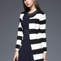 Striped Long Sleeve Knitted Long Cardigan