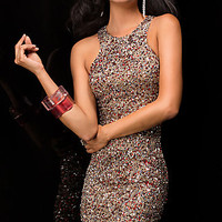 Sleeveless Short Sequin Dress by Scala