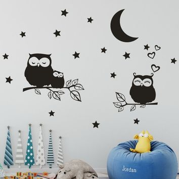Owl Stars Moon Removable Art Vinyl Mural Home Room Decor Wall Stickers