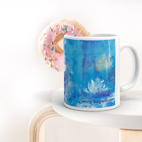 Mother's Day Gift, Waterlily Mug, Blue Abstract Mug, Art Coffee Cup, Gardner Cup, Blue Coffee Cup, Botanical Mug, Gift for Flower Lover