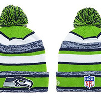 Unisex Winter Warm Wool Sports Cap Cuff Knit Hat Pom Beanie (Seattle Seahawks)
