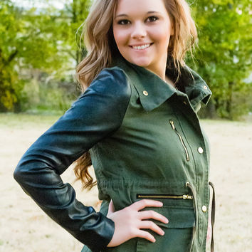 Don't Wanna Talk About It Olive & Faux Leather Sleeves Jacket