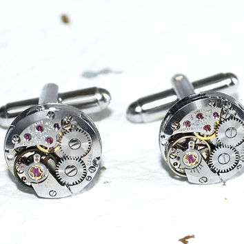 TISSOT Steampunk Men Cufflinks - Luxury Swiss Silver Vintage Watch Movement Men Steampunk Cufflinks Cuff links - Black Friday Christmas Gift