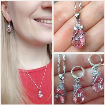 Pink Water Drop 925 Sterling Silver & Austrian Crustal Necklace and Earring Set