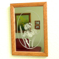 Antique Etched Mirror Wood Frame Wall Decor Collectable Iris Flower Mirror, Mid century