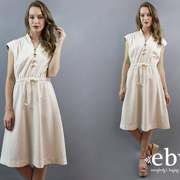 Hippie Dress Hippy Dress 1970s Dress 70s Dress Cream Dress Day Dress Boho Dress Bohemian Dress Midi Dress 70s Party Dress Winter White M L