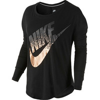 Nike Women's Signal Metallic Long-Sleeve T-Shirt