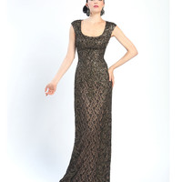 Sue Wong Fall 2014 W4360 Black & Nude Embroidered Cap Sleeve Column Dress