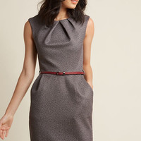 Teaching Classy Sheath Dress in Textured Mocha