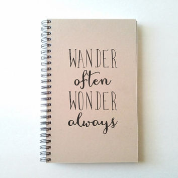 Adventure awaits, 5X8 Journal, spiral notebook, wire bound diary, sketchbook, brown kraft notebook, white journal, travel journal, writers