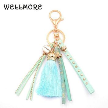 ESBONFI WELLMORE 2017 leather,tassel,colorful alloy Key Chain For Women Girl Bag Keychain