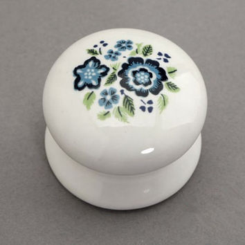 Ceramic Knobs White Blue / Shabby Chic Dresser Drawer Pulls French Country Kitchen Cabinet Handle Hardware Lot x10