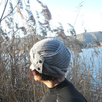 Hand Knit Hat- Womens Hat- Cloche Hat in Silver Gray Womens cable knit Hat Spring Autumn Winter Accessories Fashion hat Christmas