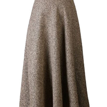 Khaki High Waist Pocket Detail Woolen Midi Skirt